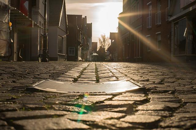ulice, kanál, prohnutý