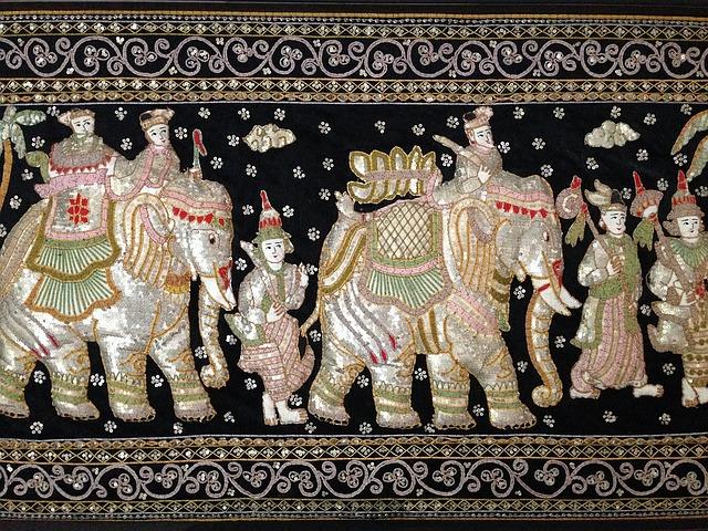 nástěnný obraz, slon, lidé